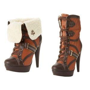 House of Dereon Cognac High Heel Boots Size 9